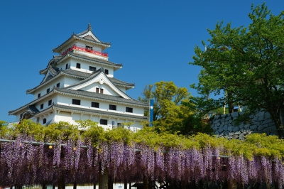 This castle was built in 1608 by Terazawa Hirotaka, the first lord of the Karatsu Domain. The present castle keep tower was built in 1966 to represent the original. The top floor of the castle commands Nijino Matsubara (pine woods), Karatsu Bay and the downtown area of Karatsu City. 