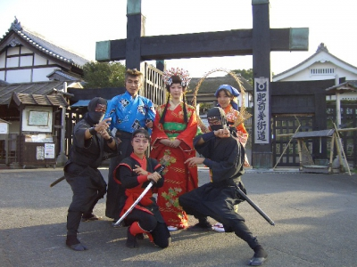 The Ninja Village is a recreation of the Nagasaki Kaido from the Edo Period. Ninjas are hiding throughout the village and visitors can try their hand at Shuriken and blow darts.  There's plenty to see with the Ninja Show, Daidogei (street performances), and others!