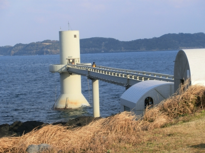 You can enjoy the view of islands floating in the Genkai Sea from the deck of this tower, which is connected to the land with a bridge, and from the underwater observation tower located 7 meters below the sea-level, you can observe black sea bream, grass puffer, neon damselfish and many other kinds of fish swimming around and seaweeds such as sea oak, hondawara brown alga in their natural habitat.