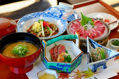 """You can enjoy fresh fish meals at Ryumonkyo surrounded by a lot of nature.  We recommend that you should eat """"Koi (carp) No Arai,"""" or sashimi. Our carps were raised in pure water so that they have less fat. They don't have the bad smell at all, so it is very easy to eat and hard to get tired of them. And all the dishes are Arita ware, and we provide you a place like a hiding spot and blissful moment."""