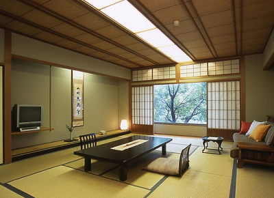 All rooms of the East building are equipped with private open-air bath. Japanese-style superior rooms (Shikishima Japanese Rooms) are located in the West building. There are unique styles of bath available from the large bath and open-air bath to the chartered-open-air bath surrounded by the nature.